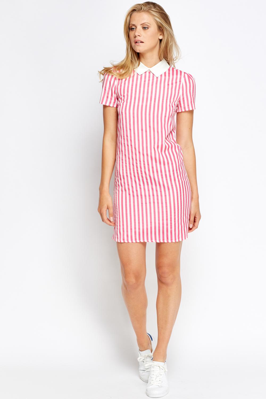 2e260d290db Pink Striped Collar Bodycon Dress - Just £5