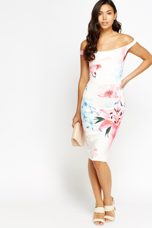 6357b2cfdd73 Off Shoulder Floral Bodycon Dress - Just £5