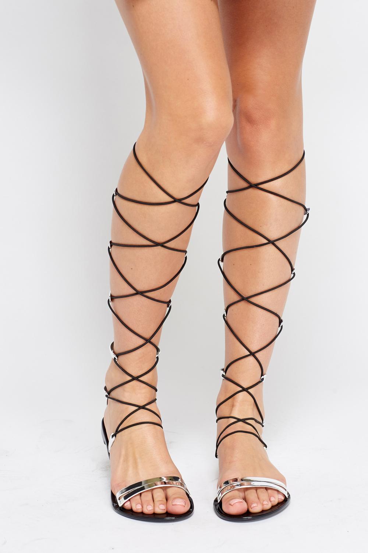1b31a9f9aada Metallic Knee Tie Up Sandals - Just £5