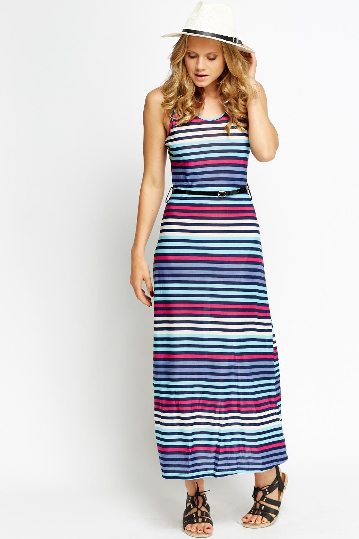 belted stripe maxi dress just 163 5