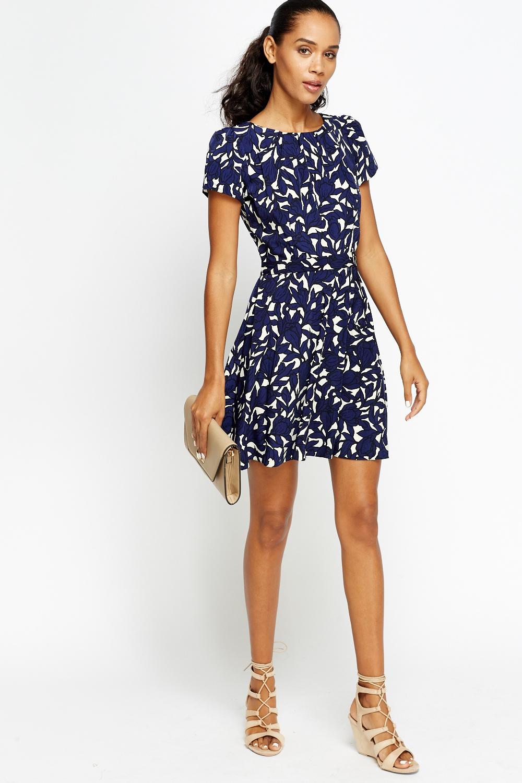 065b8c828b Pleated Printed Mini Skater Dress - Just £5
