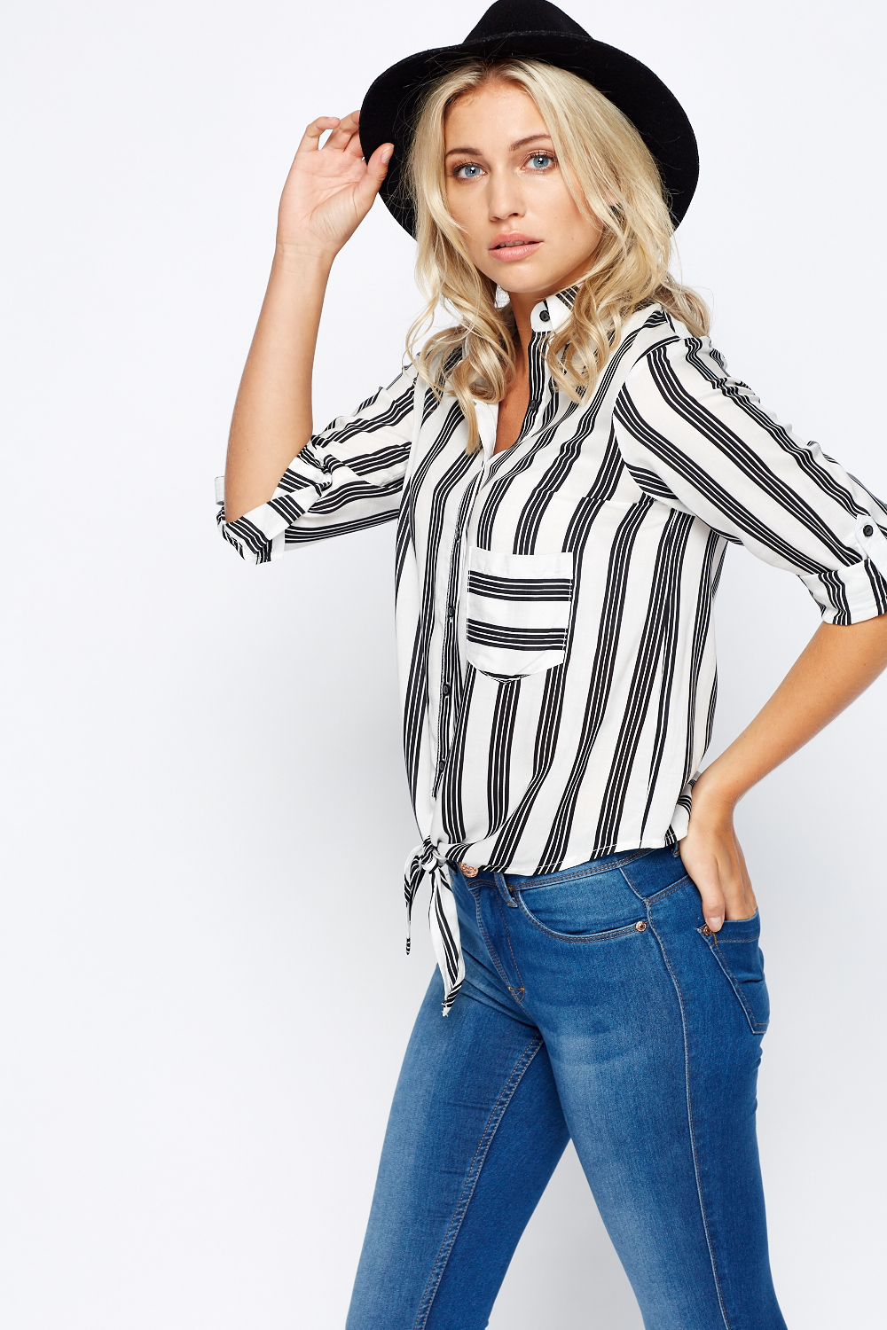 Tie knot striped shirt top just 5 for Striped shirt with tie