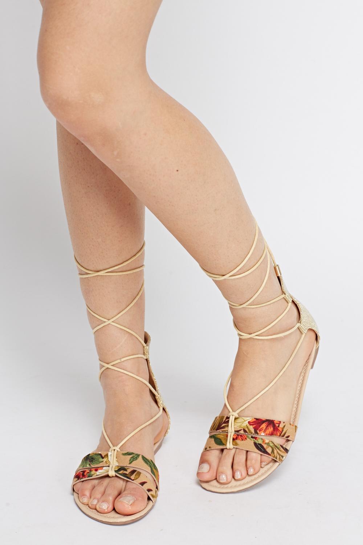 71cf2c89bd9f Metallic contrast Tie Up Knee Sandals - Beige - Just £5