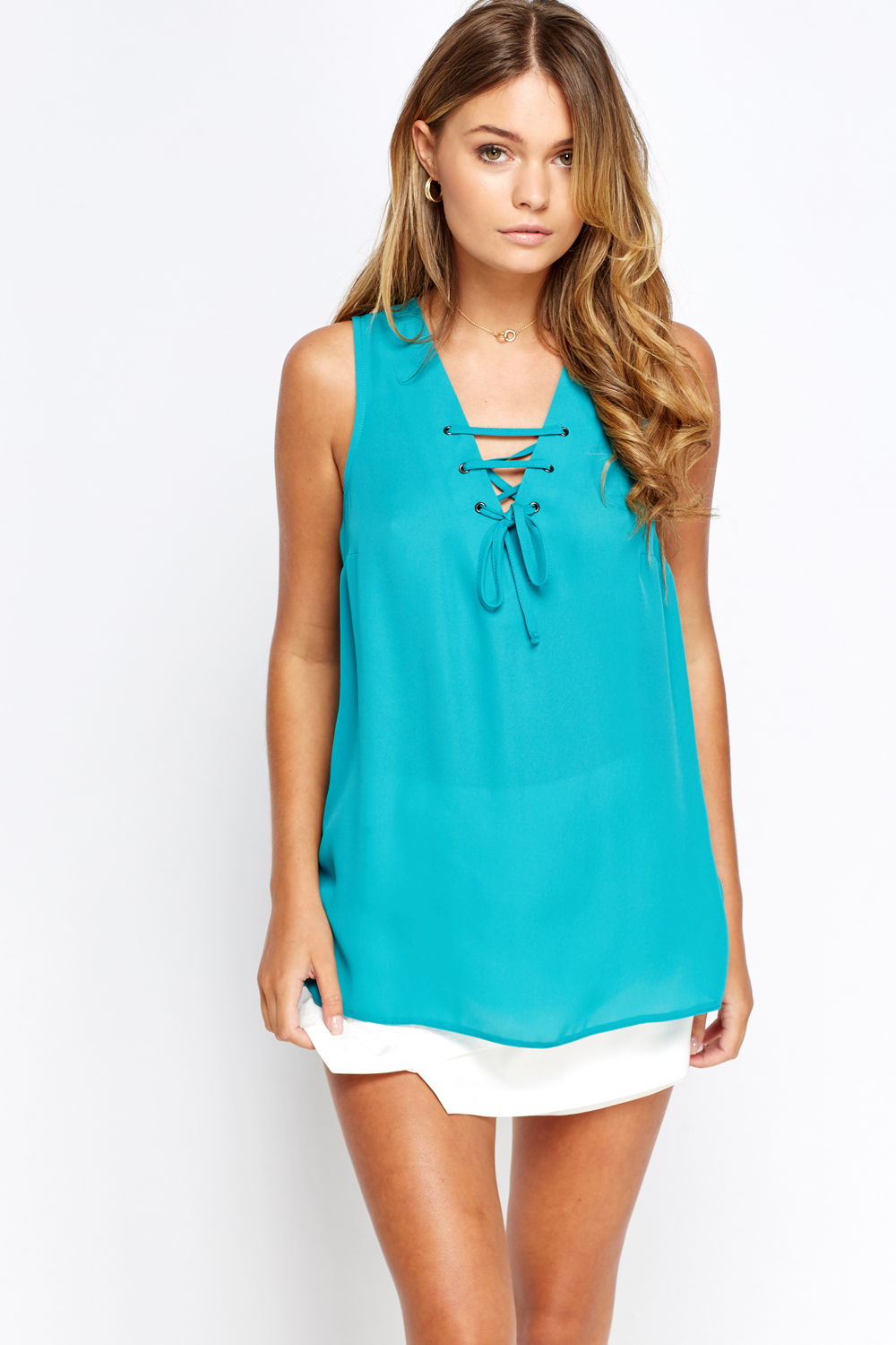 Lace Up Neck Turquoise Top Just 163 5