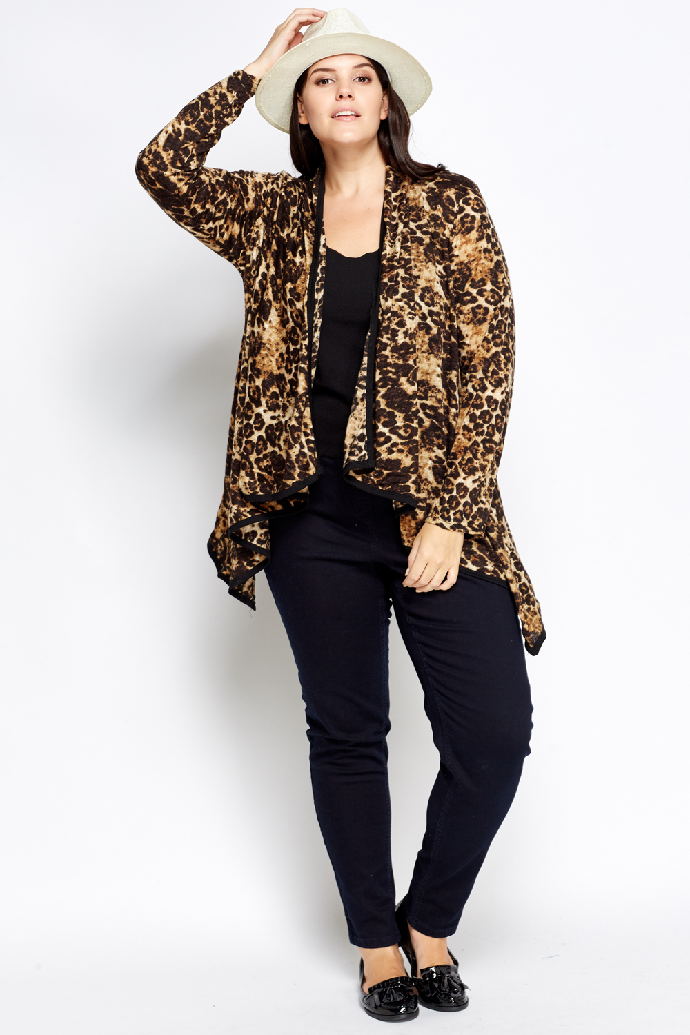 Leopard Print Asymmetric Open Front Cardigan - Just £5