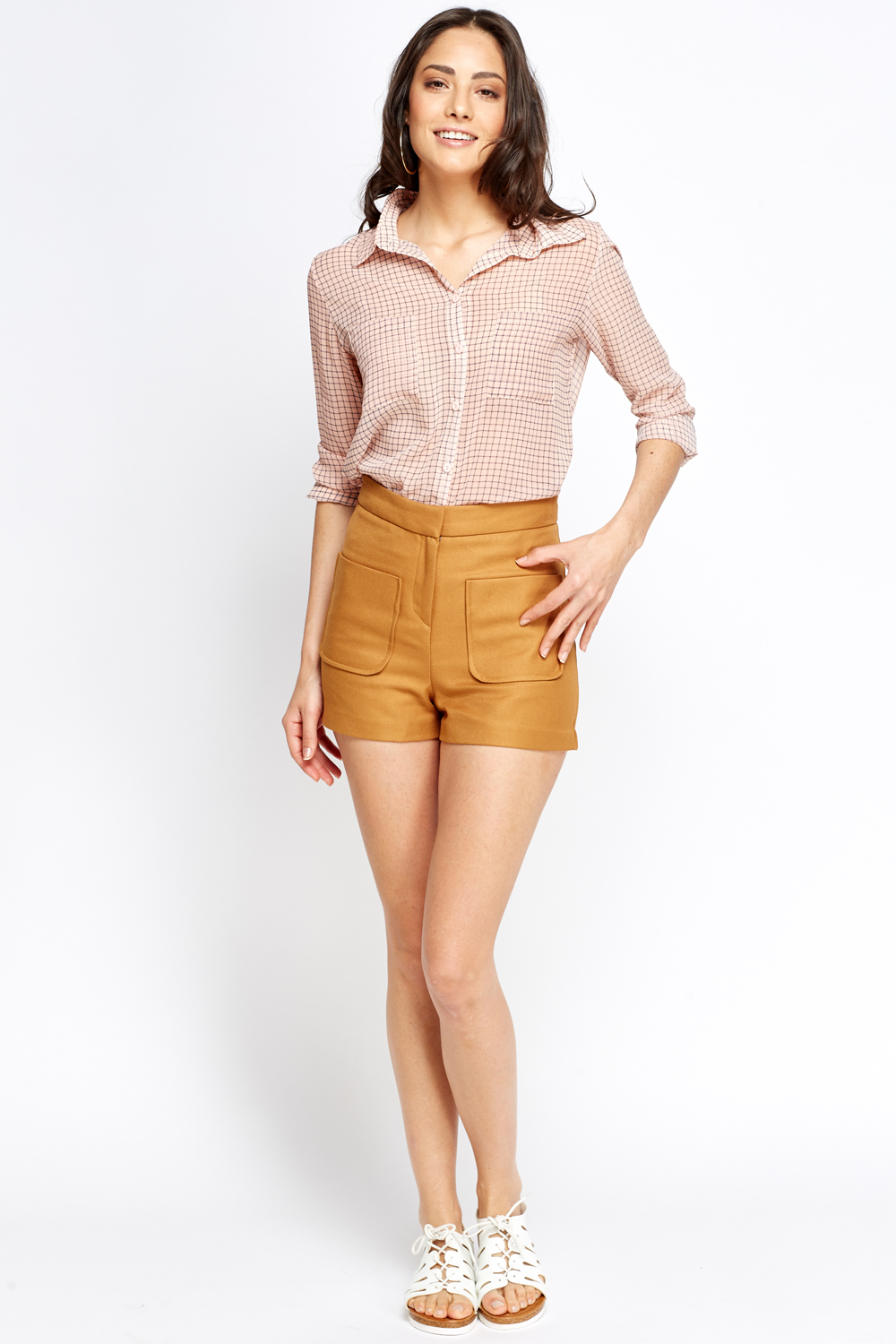 Brown High Waisted Shorts - Just £5