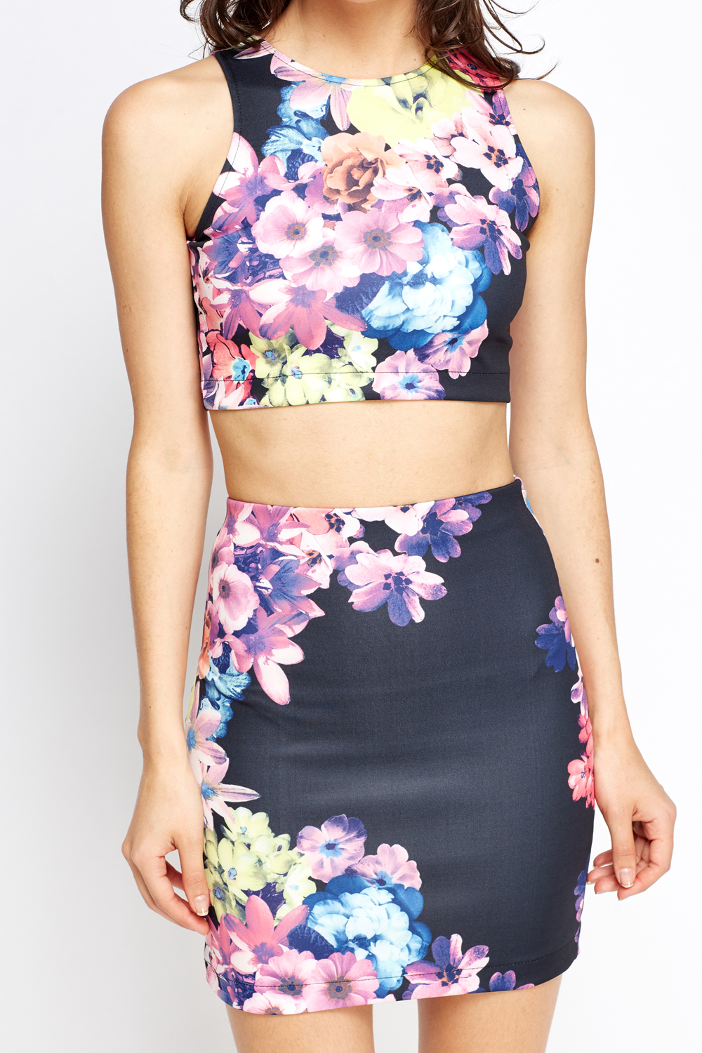 Floral Crop Top And Mini Skirt Set - Just £5