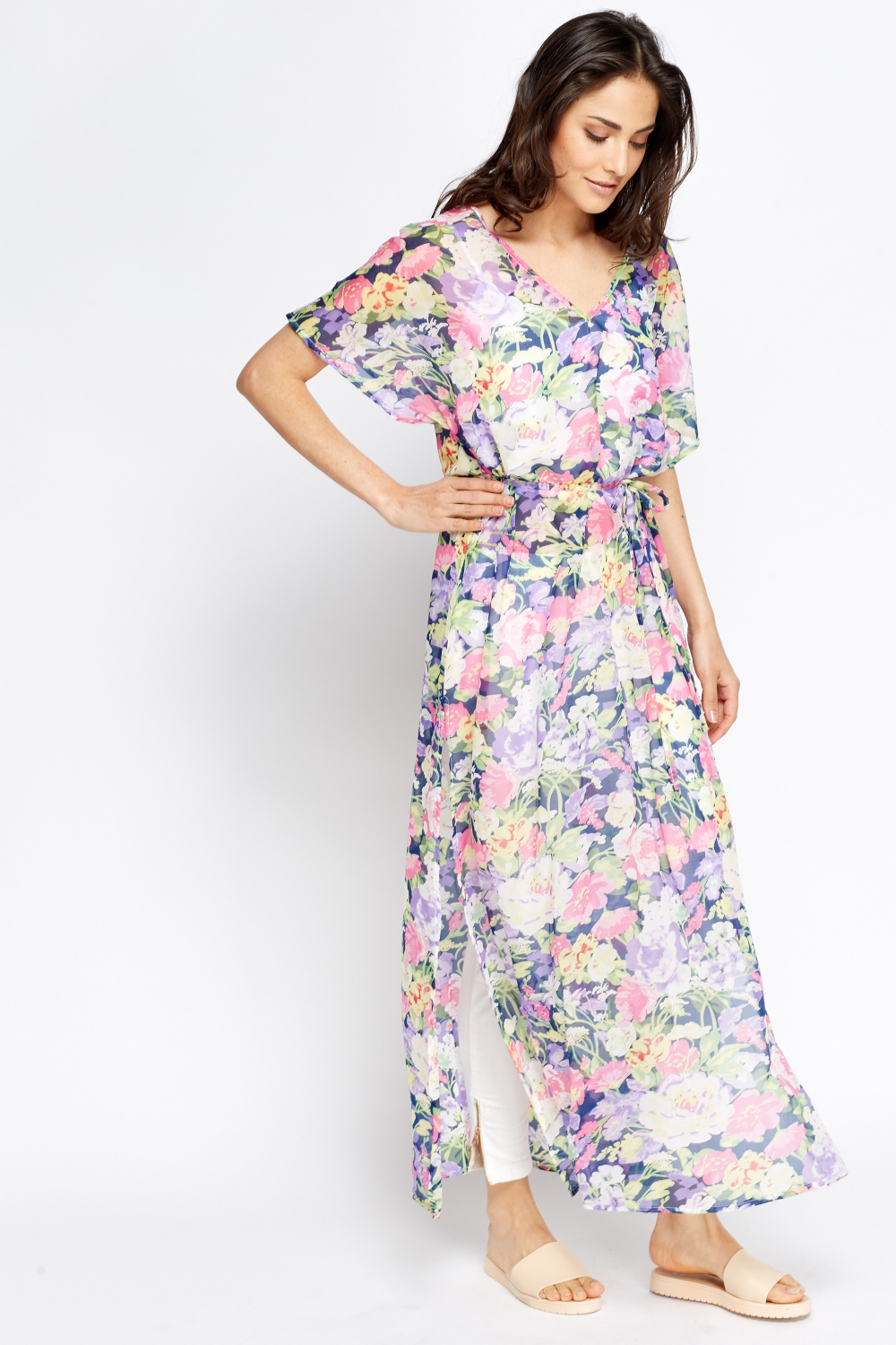 c6b0244f6 Floral Multi Colour Sheer Beach Cover Up - Just £5