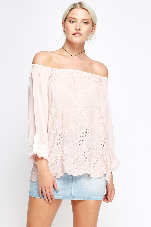 c90e4efcbd98 Lace Printed Off Shoulder Top - Just £5