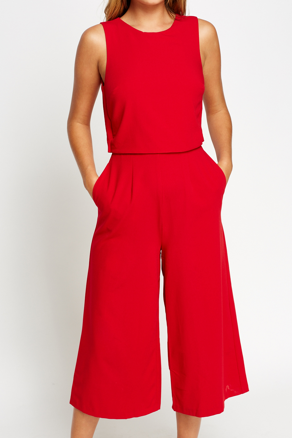 Overlay Red Cropped Jumpsuit Just 163 5