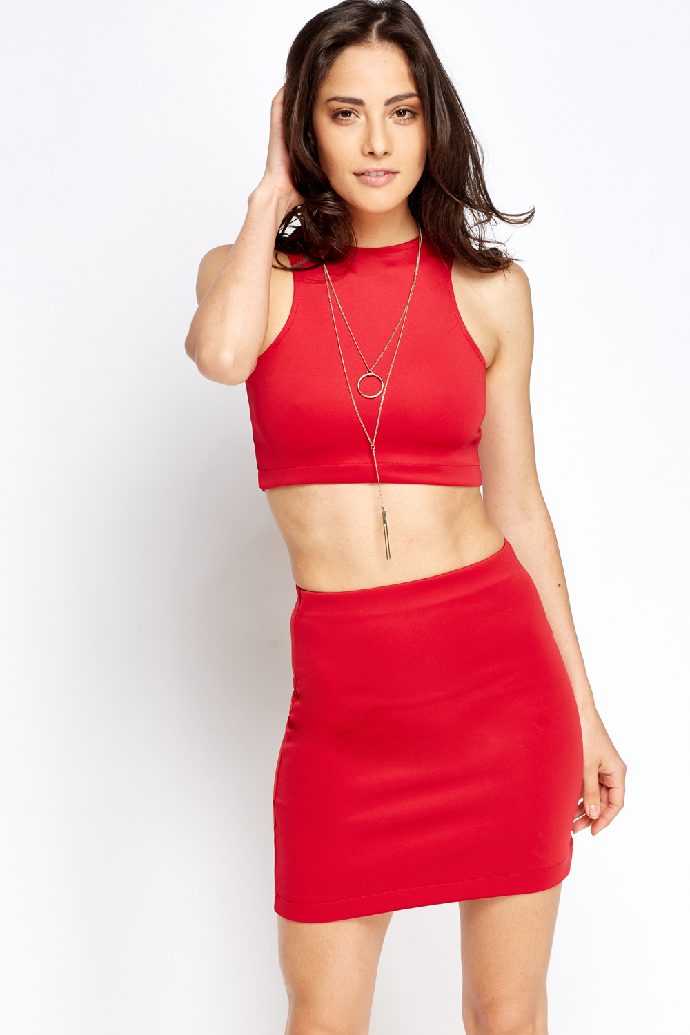 Bodycon Crop Top And Skirt Set - Just £5