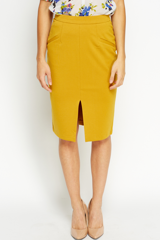 f4d1e18327 Slit Front Mustard Pencil Skirt - Just £5