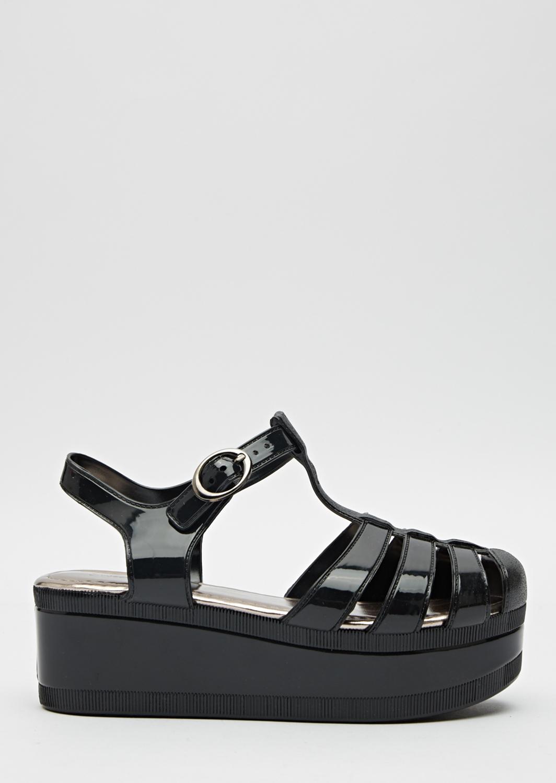 124e328b59cd Flatform Black Jelly Sandals - Just £5