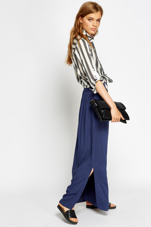 slit side maxi skirt navy or olive just 163 5