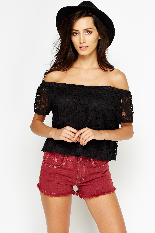 4a3315ddba57 Black Lace Off Shoulder Top - Just £5