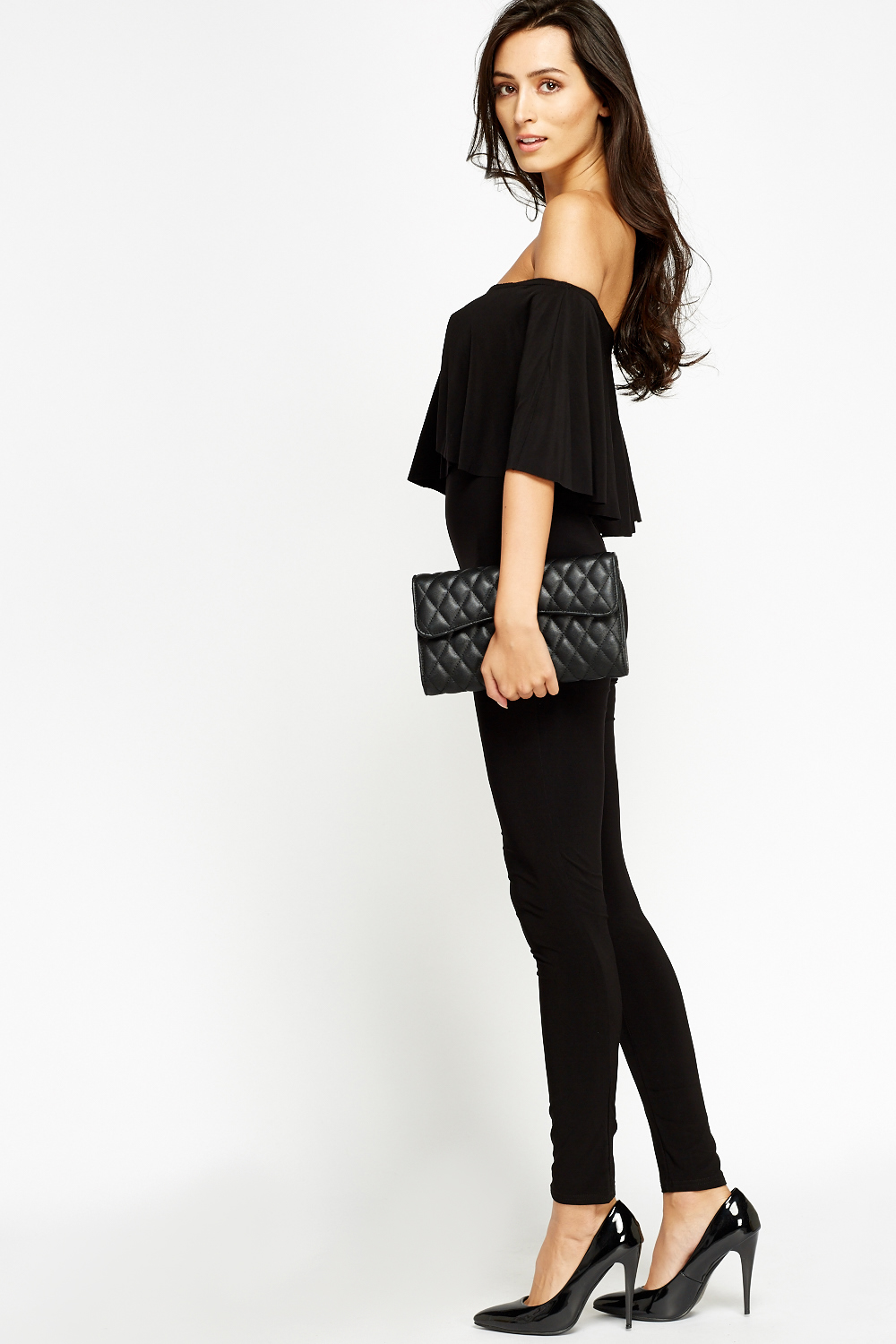 aa9238a75a Black Off Shoulder Flare Jumpsuit - Just £5