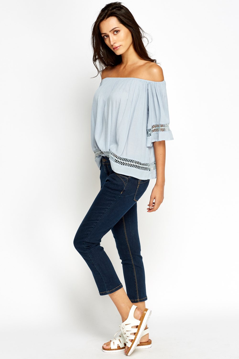 Cropped High Waisted Jeans - Just £5