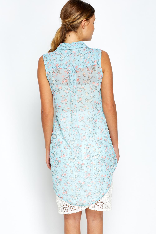 Light Blue Rose Print Sheer Blouse Just 163 5