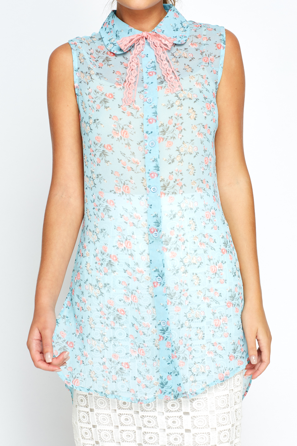 Light Blue Rose Print Sheer Blouse Just 163 5