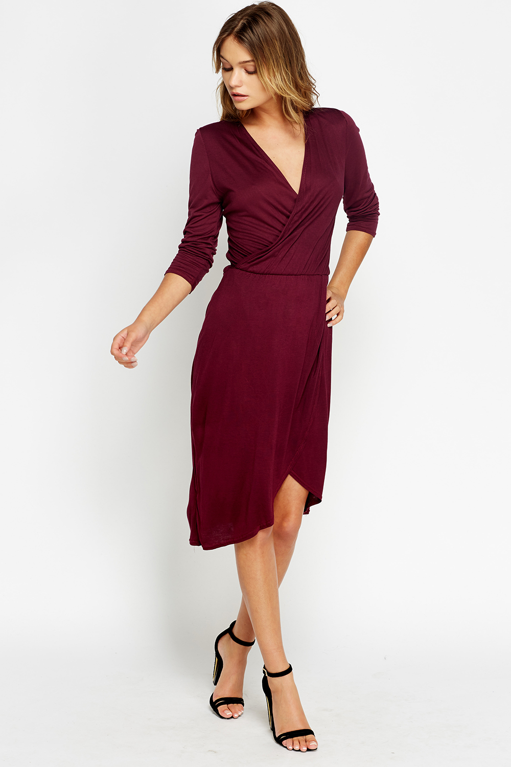 Plunge Midi Wrap Dress Just 163 5