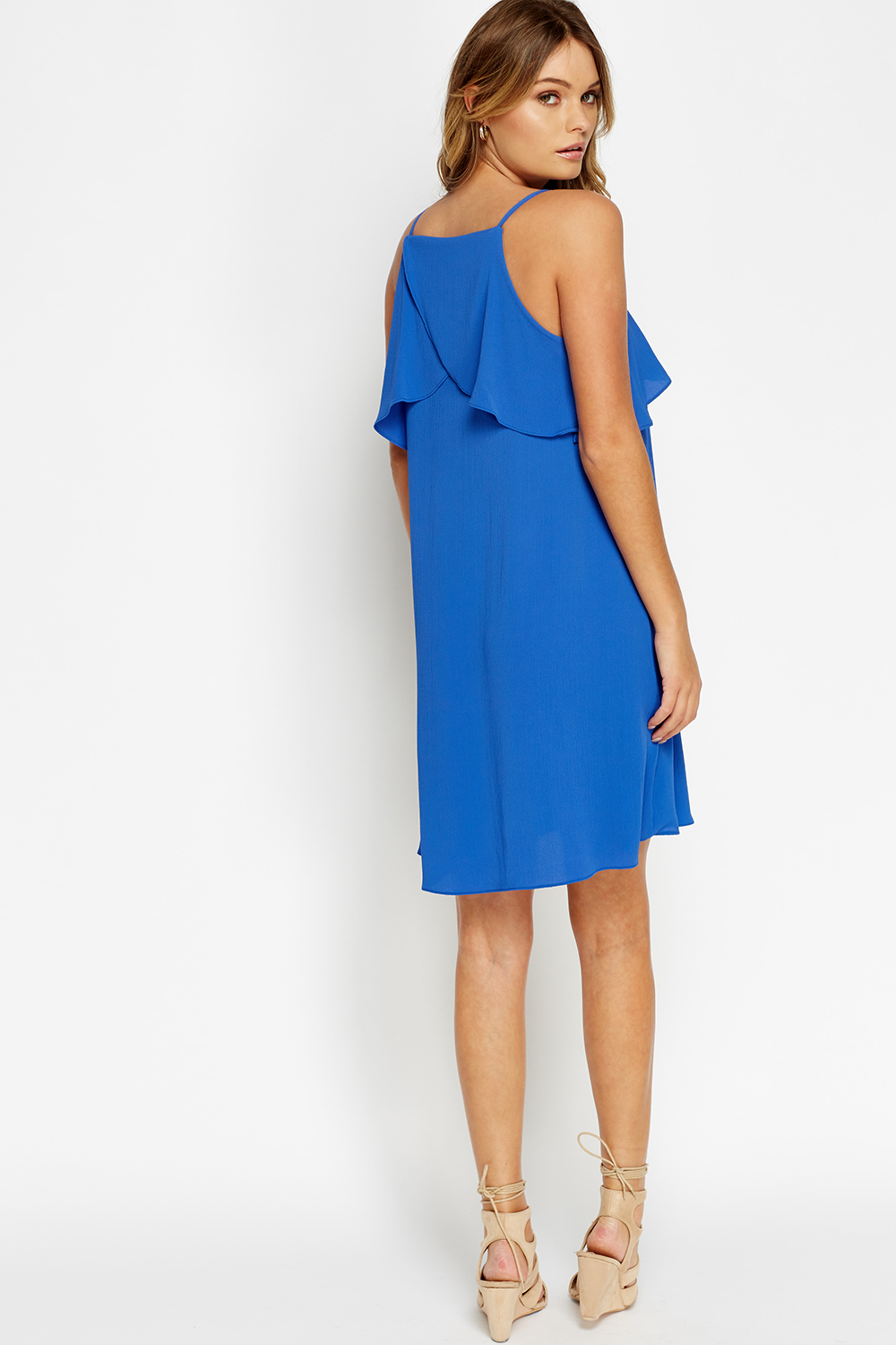 Flare Overlay Bright Blue Dress - Just £5