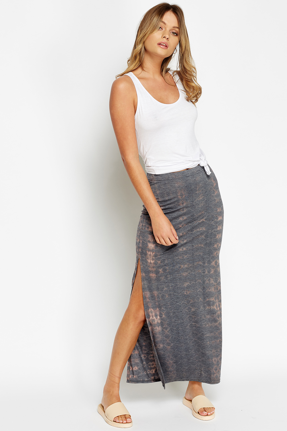 slit side printed maxi skirt just 163 5