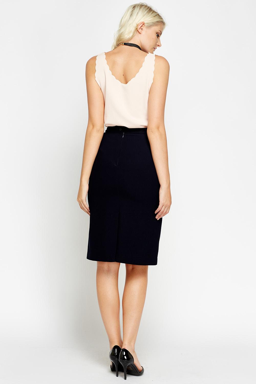 Smart Navy Pencil Skirt Just 163 5