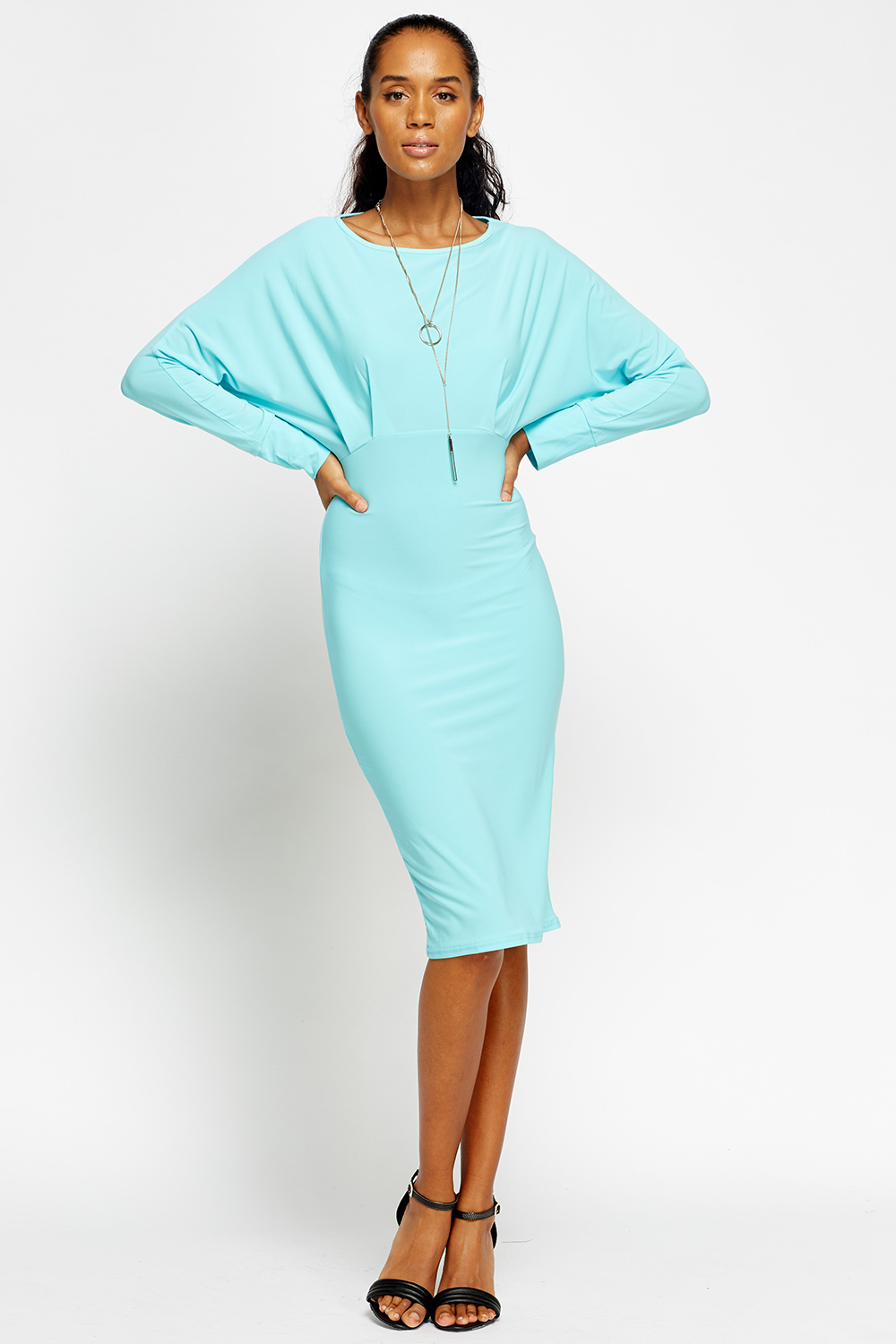 Batwing Bodycon Midi Dress - Just £5
