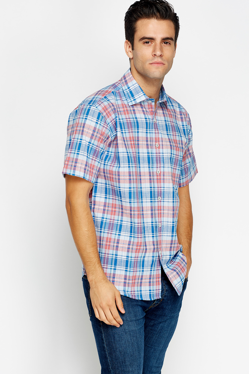 Blue Check Short Sleeve Shirt Just 163 5