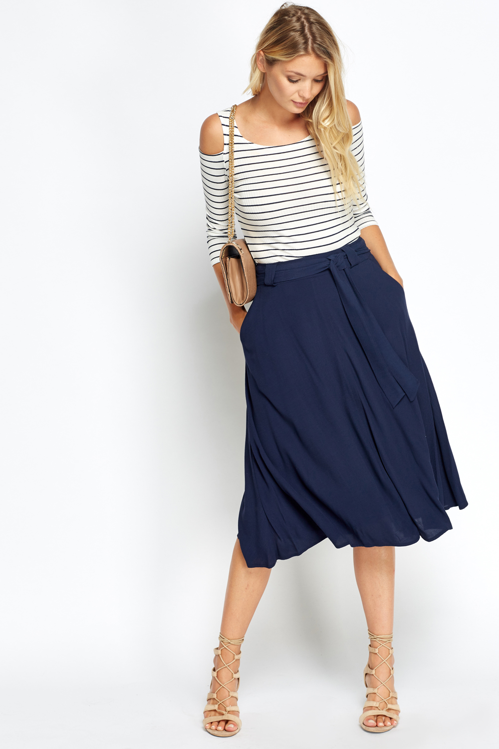 Tie Up Navy Midi Skirt - Just £5