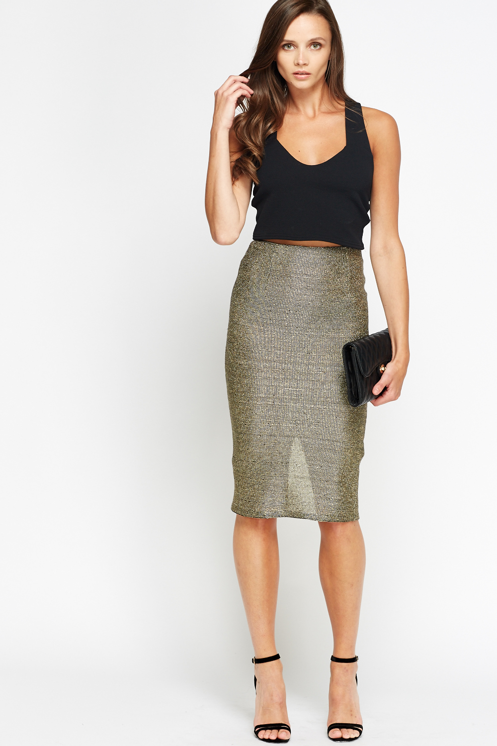 Metallic Gold Pencil Skirt Just 163 5