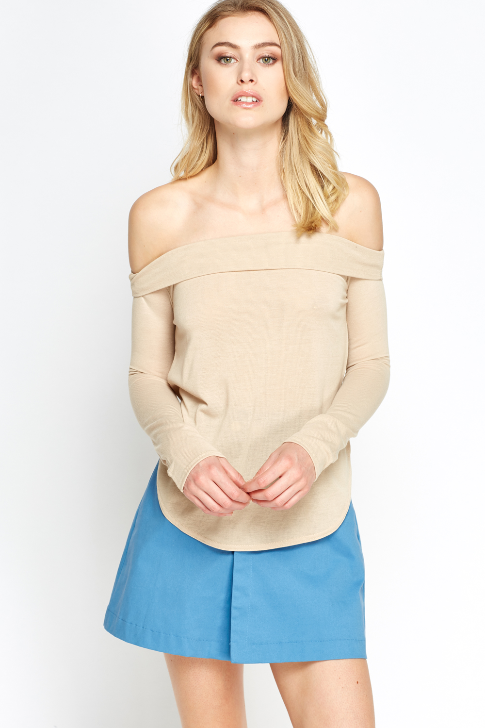Off Shoulder Casual Top Beige Or Navy Just 163 2