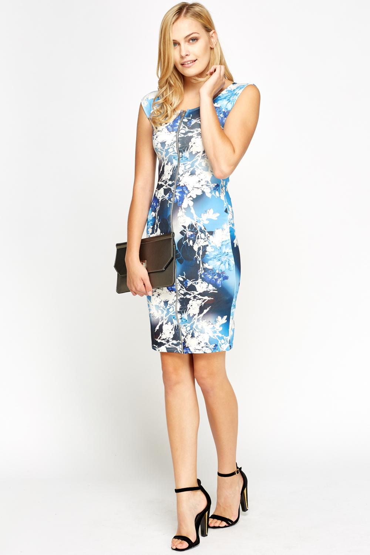 c57fcb132fd9b Blue Print Zip Front Bodycon Dress - Just £5