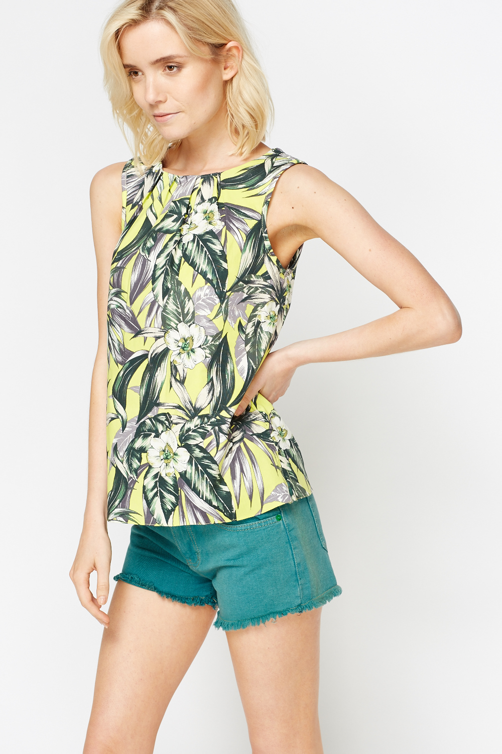 14026c1e5f84c6 Wild Leaf Printed Shell Top - Just £5