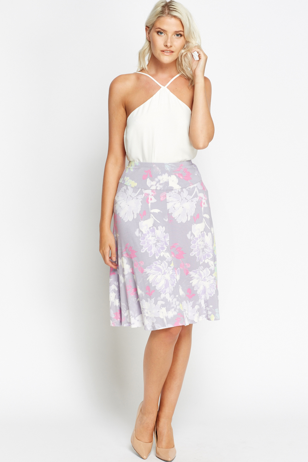 e68bf97057 Lilac Floral Midi Skirt - Just £5