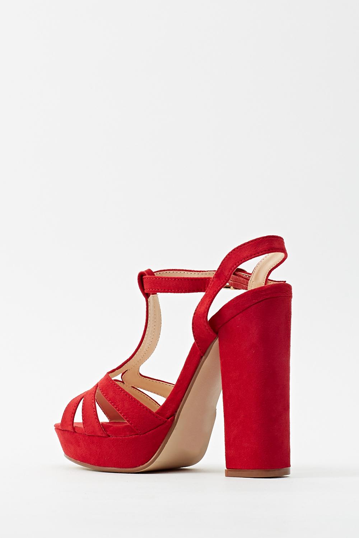 Suedette Red T-Bar Block Heels - Just £5