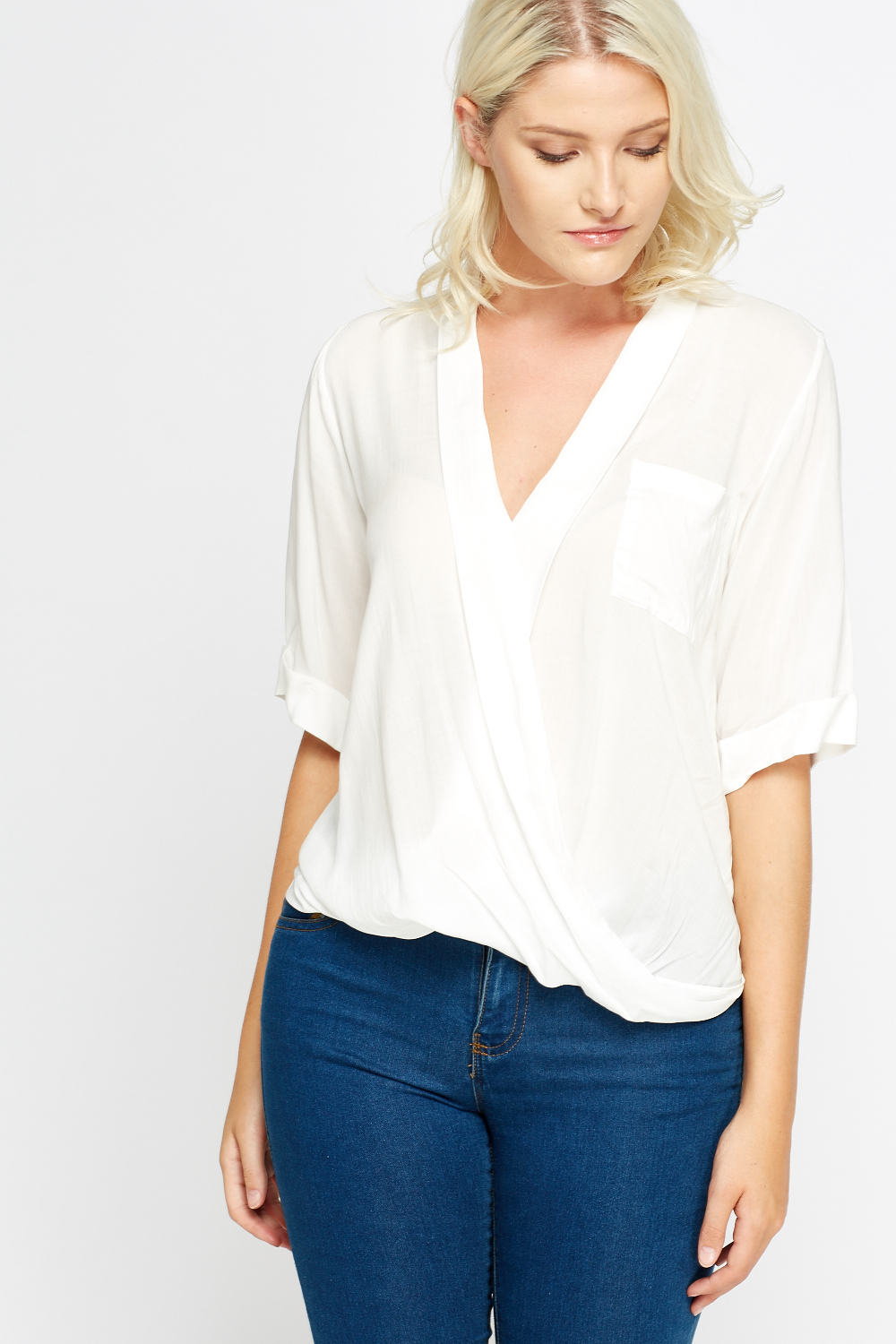 Wrap White Sheer Blouse Just 163 5