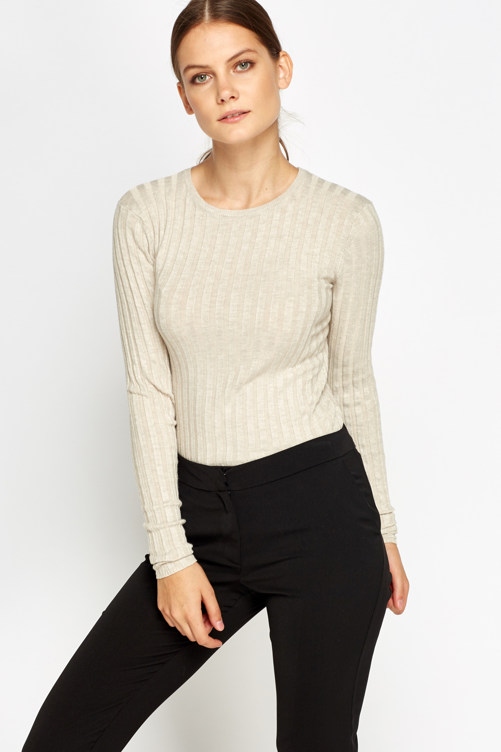 Ribbed Long Sleeve Knit Top Just 5
