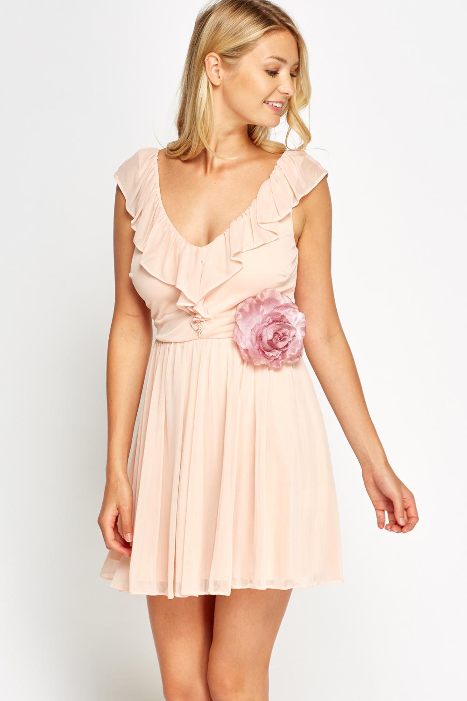 Light Peach Flared Flower Dress Just 163 5