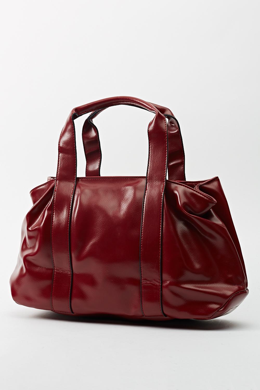Hi-Shine Faux Leather Tote Bag