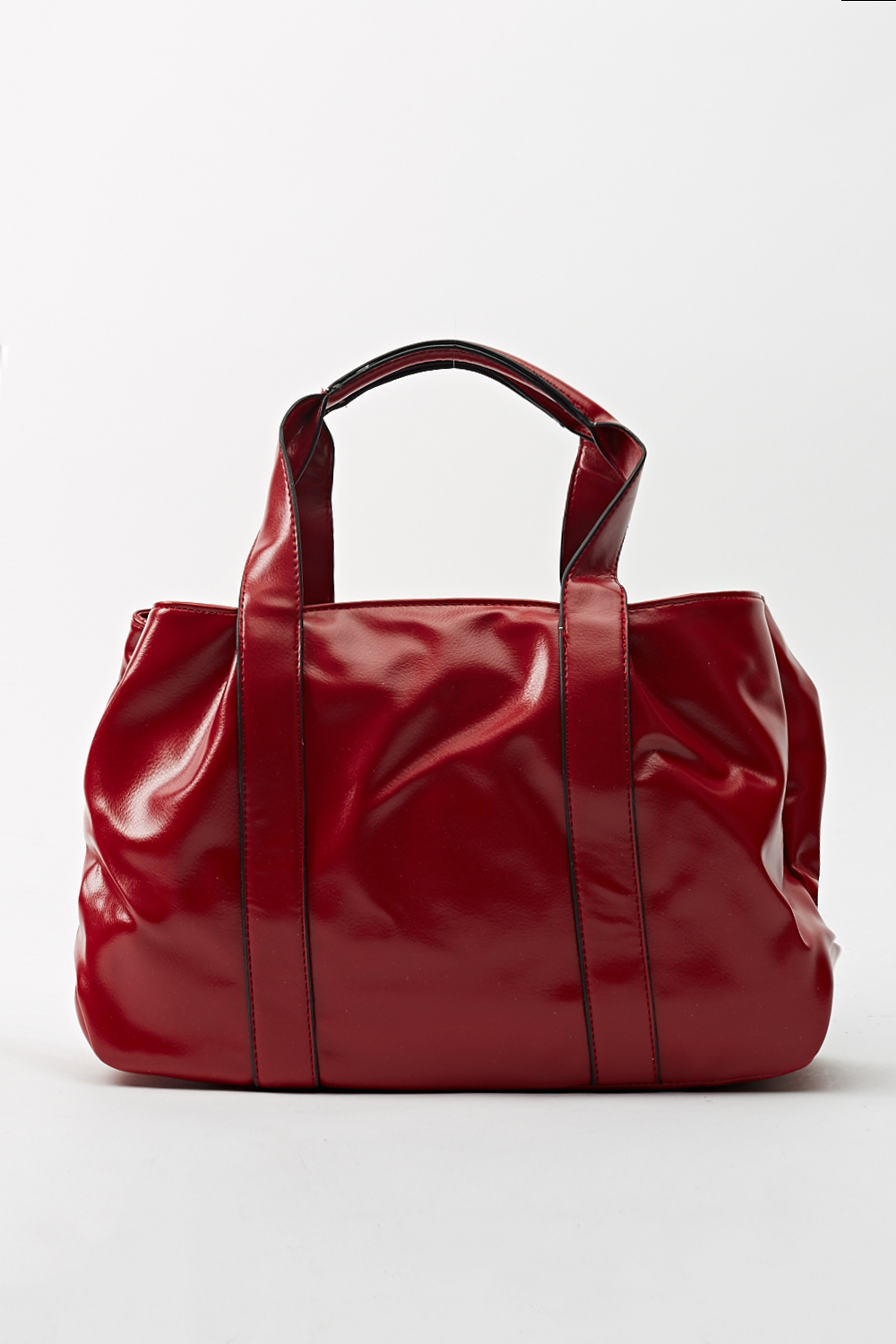 Hi-Shine Faux Leather Tote Bag - Red