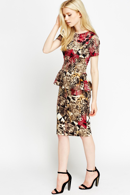 Geo Leopard Print Pencil Skirt - Just £5 ae188b811