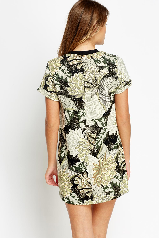 Green Floral Vintage T Shirt Dress Just 163 5