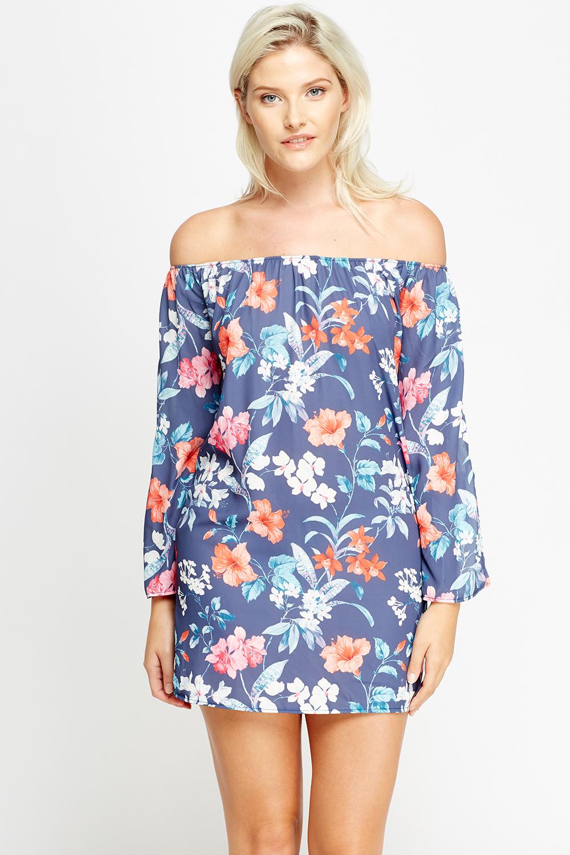 fa6f8bde3d67 Off Shoulder Floral Mini Dress - Just £5