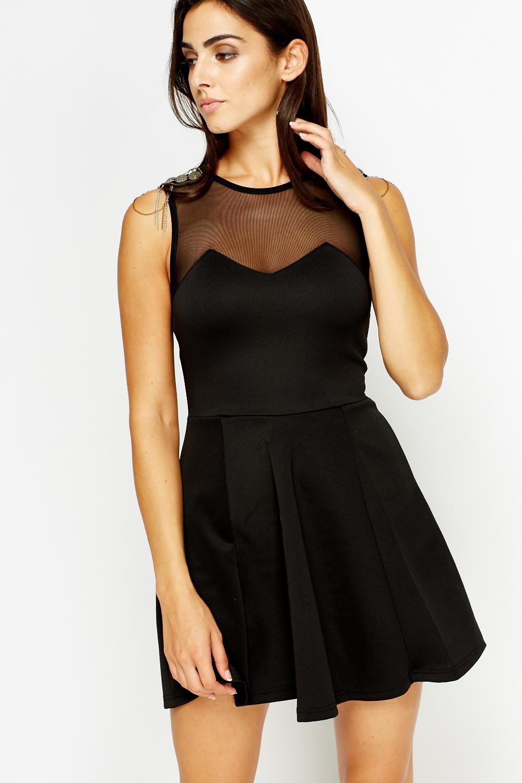 bed313027f Mesh Sweetheart Black Skater Dress - Just £5