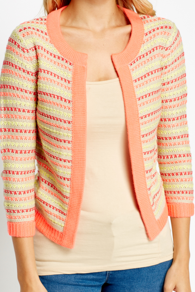 Coral Knitted Open Front Cardigan - Just ?5