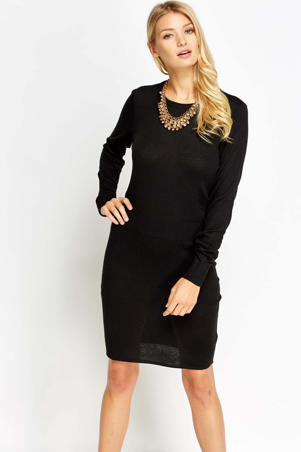 Black Knitted Jumper Dress Uk - Sweater Tunic
