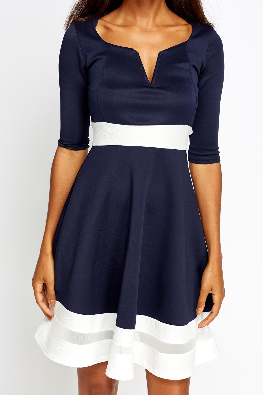 5848b34e384 Navy Mesh Insert Contrast Skater Dress - Just £5