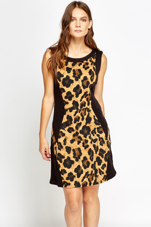 9f03be5c34 Leopard Print Panel Swing Dress - Just £5
