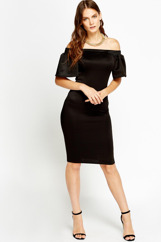 Off Shoulder Flared Sleeve Dress - Black - Just £5